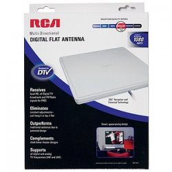 Voxx - ANT1400F - RCA Indoor Omni Directional Flat Digital TV Antenna - Upto 40 Mile Range - VHF, UHF - HDTV Antenna - White - Wall Mount - Omni-directional