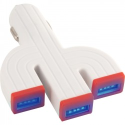 QVS - USBCC-3P - QVS 3-Port 3.1Amp USB LED-Lighted Car Charger for Smartphones and Tablets - 12 V DC, 24 V DC Input Voltage - 5 V DC Output Voltage - 3.10 A Output Current - USB