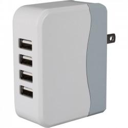 QVS - USBAC-4 - QVS 4-Port 4.9Amp USB Universal AC Charger with Folding Power Plug - 22.50 W Output Power - 120 V AC, 230 V AC Input Voltage - 5 V DC Output Voltage - 4.50 A Output Current - USB