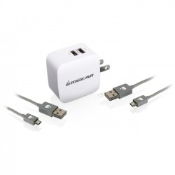 IOGear - GPAW2U4KIT - IOGEAR GearPower Dual USB 4.2A (20W) Wall Charger Kit