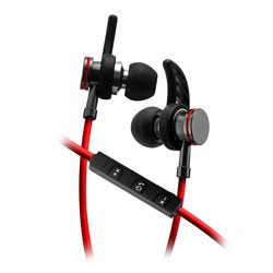Sentry - BT250S - Wireless Rechargeable Stereo Earbuds with Bluetooth & In-Line Mic Black/Red