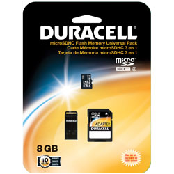 Duracell - DU3IN108GR - 8GB Micro Secure Digital High Capacity (SDHC) Card with Adapter