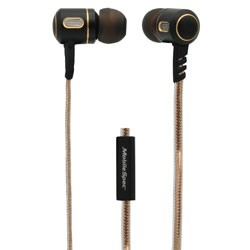 MobileSpec / BASIC - MBS10153 - Premium Stereo Metal Earbuds with In-Line Mic Gold/Graphite