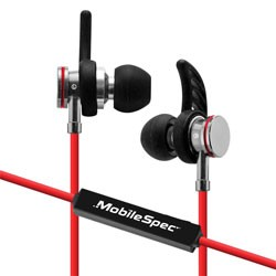 MobileSpec / BASIC - MBS11108 - Bluetooth Wireless Earbuds with In-Line Mic Red/Black