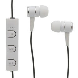 MobileSpec / BASIC - MBS11110 - Bluetooth Wireless Earbuds with In-Line Mic White/Silver