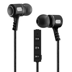 MobileSpec / BASIC - MBS11121 - Bluetooth Wireless Metal Earbuds with In-Line Mic Black/Graphite
