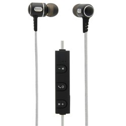 MobileSpec / BASIC - MBS11123 - Bluetooth Wireless Metal Earbuds with In-Line Mic Silver/Graphite