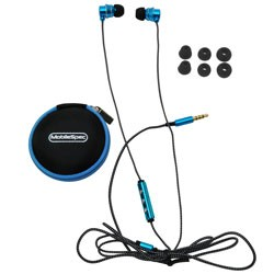MobileSpec / BASIC - MS52BL - Chords Noise Isolating Ear Buds with In-Line Mic Blue