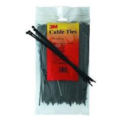 """3M - PB8BK50-C - UPC 00-051128-59341-7 8"""" Black 50 LB Plain Cable Tie - 100/bag (41939)"""