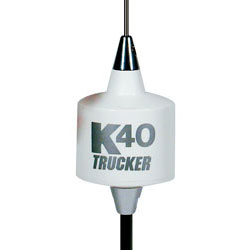 K40 Electronics - TR-40WH - 49 Center Load Trucker CB Antenna - 3500 Watts White with Silver K40 Logo