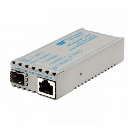 Omnitron - 1239-0-1 - miConverter 10/100/1000 Gigabit Ethernet Fiber Media Converter RJ45 SFP - 1 x 10/100/1000BASE-T; 1 x 1000BASE-X (SFP); US AC Powered; Lifetime Warranty