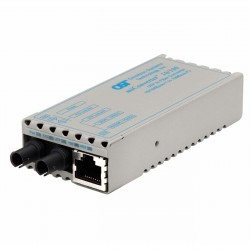 Omnitron - 1101-1-1 - miConverter 10/100 Ethernet Fiber Media Converter RJ45 ST Single-Mode 30km - 1 x 10/100BASE-TX, 1 x 100BASE-LX, US AC Powered, Lifetime Warranty