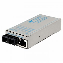 Omnitron - 1103-1-1 - miConverter 10/100 Ethernet Fiber Media Converter RJ45 SC Single-Mode 30km - 1 x 10/100BASE-TX, 1 x 100BASE-LX, US AC Powered, Lifetime Warranty