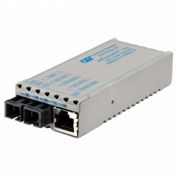 Omnitron - 1203-1-1 - miConverter 1000Mbps Gigabit Ethernet Fiber Media Converter RJ45 SC Single-Mode 12km - 1 x 1000BASE-T, 1 x 1000BASE-LX, US AC Powered, Lifetime Warranty