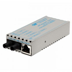 Omnitron - 1221-1-1 - miConverter 10/100/1000 Gigabit Ethernet Fiber Media Converter RJ45 ST Single-Mode 12km - 1 x 10/100/1000BASE-T; 1 x 1000BASE-LX; US AC Powered; Lifetime Warranty