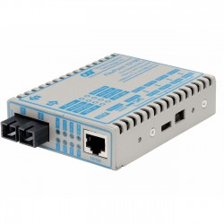 Omnitron - 4341-1 - FlexPoint 10/100 Ethernet Fiber Media Converter RJ45 SC Single-Mode 30km - 1 x 10/100BASE-TX; 1 x 100BASE-LX; US AC Powered; Lifetime Warranty