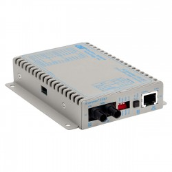 Omnitron - 8701-1-D - iConverter T1/E1 Fiber Media Converter RJ48 ST Single-Mode 30km - 1 x T1/E1; 1 x ST Single-Mode; Wall-Mount Standalone; US AC Powered; Lifetime Warranty