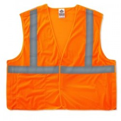 "Ergodyne - 21063 - Ergodyne Small - Medium Hi-Viz Orange GloWear 8215BA Economy 3.3 oz Polyester Mesh Class 2 5-Point Break-Away Vest With Front Hook And Loop Closure And 2"" Reflective Tape And 1 Pocket"