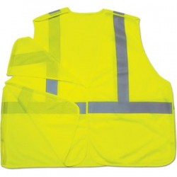 "Ergodyne - 21075 - Ergodyne Large - X-Large Hi-Viz Lime GloWear 8215BA Economy 3.3 oz Polyester Mesh Class 2 5-Point Break-Away Vest With Front Hook And Loop Closure And 2"" Reflective Tape And 1 Pocket"