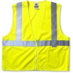 "Ergodyne - 21165 - Ergodyne Large - X-Large Hi-Viz Lime GloWear 8225Z 3.6 oz Polyester Class 2 Standard Vest With Front Zipper Closure And 3M Scotchlite 2"" Reflective Tape And 3 Pockets"