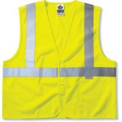 "Ergodyne - 21183 - Ergodyne Small - Medium Hi-Viz Lime GloWear 8225HL 3.6 oz Solid Polyester Class 2 Standard Vest With Front Hook And Loop Closure And 3M Scotchlite 2"" Reflective Tape And 3 Pockets"