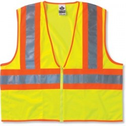 "Ergodyne - 21299 - Ergodyne 4X - 5X Hi-Viz Lime GloWear 8229Z Economy 3.3 oz Polyester Mesh Class 2 Two-Tone Vest With Front Zipper Closure And 2"" Level 2 Reflective Tape And 1 Pocket"