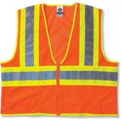"Ergodyne - 21305 - Ergodyne Large - X-Large Hi-Viz Orange GloWear 8229Z Economy 3.3 oz Polyester Mesh Class 2 Two-Tone Vest With Front Zipper Closure And 2"" Level 2 Reflective Tape And 1 Pocket"
