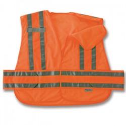 Ergodyne - 21360 - Ergodyne Medium - Large Hi-Viz Orange GloWear 8244PSV 3.3 oz Polyester Mesh 5-Point Break-Away Expandable Public Safety Vest With Adjustable Side Closure And 3M Scotchlite Level 2 Reflective Tape And 2 Pockets