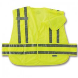 Ergodyne - 21366 - Ergodyne X-Large - 2X Hi-Viz Lime GloWear 8244PSV 3.3 oz Polyester Mesh 5-Point Break-Away Expandable Public Safety Vest With Adjustable Side Closure And 3M Scotchlite Level 2 Reflective Tape And 2 Pockets