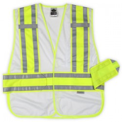 "Ergodyne - 21380 - Ergodyne Medium - Large White GloWear 8240HL 3.3 oz Polyester Mesh Two-Tone Expandable Vest With Hook And Loop Closure And 3M Scotchlite 1"" Level 2 Reflective Tape And 1 Pocket"