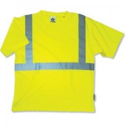 "Ergodyne - 21502 - Ergodyne Small Hi-Viz Lime GloWear 8289 Birdseye Economy Light Weight Moisture Wicking Polyester Knit Class 2 Breathable T-Shirt With 2"" Tape And 1 Pocket"