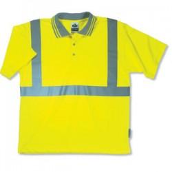 "Ergodyne - 21643 - Ergodyne Medium Hi-Viz Lime GloWear 8295 Birdseye 4.1 oz Moisture Wicking Polyester Knit Class 2 Breathable Polo Shirt With 3M Scotchlite 2"" Level 2 Reflective Tape And 1 Pocket"