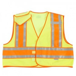 "Ergodyne - 23393 - Ergodyne Small - Medium Hi-Viz Green GloWear 8245PSV 3.6 oz Polyester Mesh 5-Point Break-Away Public Safety Vest With 3M Scotchlite 1"" Level 2 Reflective Tape And 1 Pocket"