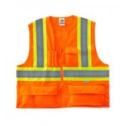 "Ergodyne - 26183 - Ergodyne Small - Medium Hi-Viz Orange GloWear 8235ZX 3.6 oz Solid Polyester Class 2 Two-Tone X-Back Vest With Front Zipper Closure And 3M Scotchlite 2"" Level 2 Reflective Tape And Five Pockets"