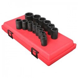 Sunex Tools - 2652 - Sunex Tools 1/2 Dr. 14 Pc. Metric Impact Socket Set - Chrome Molybdenum - Heavy Duty