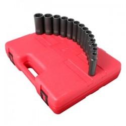 Sunex Tools - 2653 - Sunex Tools 1/2 Dr. 14 Pc. Metric Deep Impact Socket Set - Chrome Molybdenum - Heavy Duty