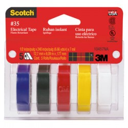 3M - 10457DS - #35 Electrical Tape, Colored 1/2 in x 240 in 5pk