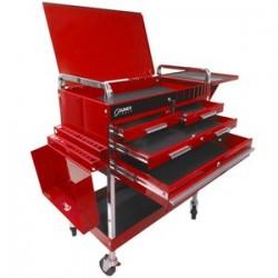 Sunex Tools - 8013ADELUXE - SUNEX 8013ADELUXE Deluxe Service Cart 4 Drawer with Flip Top Locking Lid - Red