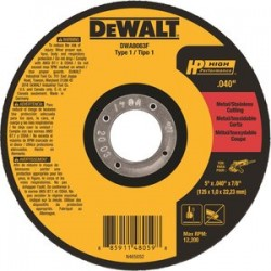 Dewalt - DWA8063F - 5 Type 1 Ceramic Abrasive Cut-Off Wheel, 7/8 Arbor, 0.040-Thick, 12, 200 Max. RPM