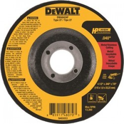 Dewalt - DWA8424F - 4-1/2 Type 27 Ceramic Abrasive Cut-Off Wheel, 7/8 Arbor, 0.040-Thick, 13, 300 Max. RPM