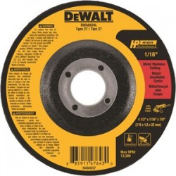 Dewalt - DWA8424L - 4-1/2 Type 27 Ceramic Abrasive Cut-Off Wheel, 7/8 Arbor, 1/16-Thick, 13, 300 Max. RPM