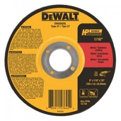 Dewalt - DWA8426L - 6 Type 27 Ceramic Abrasive Cut-Off Wheel, 7/8 Arbor, 1/16-Thick, 10, 100 Max. RPM