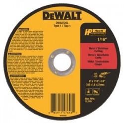 Dewalt - DWA8726L - 6 Type 1 Ceramic Abrasive Cut-Off Wheel, 7/8 Arbor, 1/16-Thick, 10, 100 Max. RPM