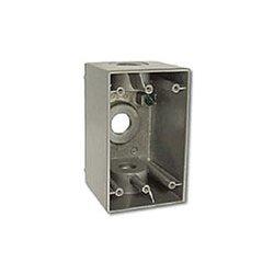 """Hubbell - HIWP05GY - Hi-Impact Weatherproof Device Box, 0.5"""" Knockout, NEMA 3R, Gray"""