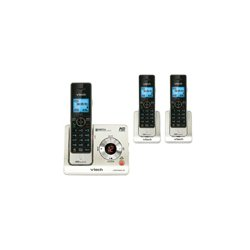 AT&T / VTech - 80-7724-00 - LS6425-3 3 Handset Cordless DECT 1.9GHz Digital Integrated Answering Device with Caller ID, Silver/Black