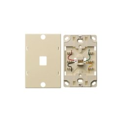 Hubbell - NS721I - Telephone Wall Jack, Quick Connect, 6 Position, 4 Conductor, Ivory