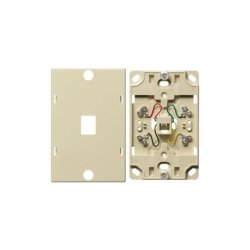 Hubbell - NS722I - Telephone Wall Jack, 6 Position, 4 Conductor, Screw Terminations, Ivory
