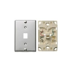 Hubbell - NS723SS - Telephone Wall Jack, Quick Connect, 6 Position, 4 Conductor, Stainless Steel