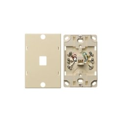 Hubbell - NS725I - Telephone Wall Jack, 6 Position, 6 Conductor, Screw Terminations, Ivory