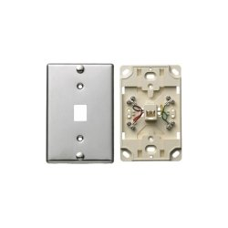 Hubbell - NS726SS - Telephone Wall Jack, 6 Position, 4 Conductor, Screw Terminations, Stainless Steel